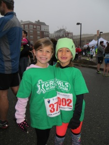 Carly (right) and her friend, Julia at the Mitten Run 5K