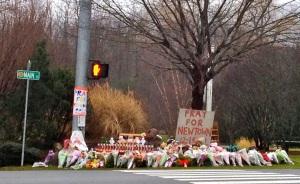 Memorial in Newtown,Ct. Photo credit, Kate Mayer