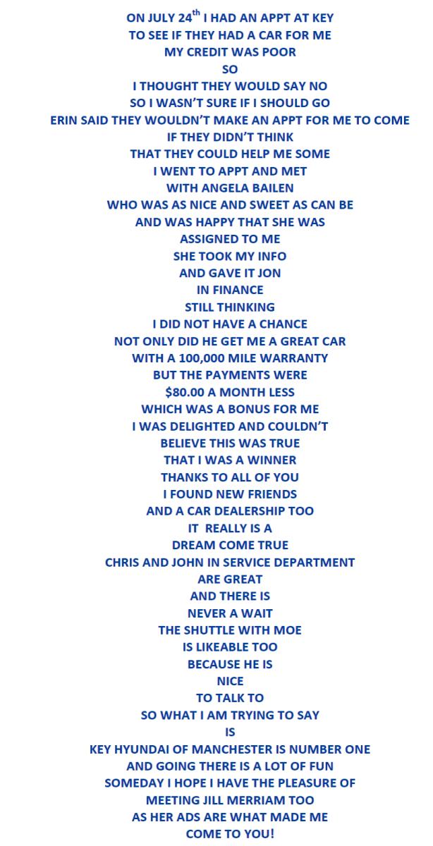 Key Hyundai Milford >> Weekly Musings: A Customer Wrote a Poem about Key Hyundai ...