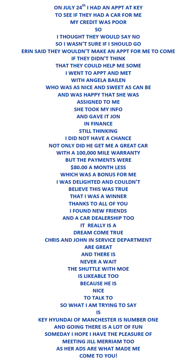 Wow!  A poem about Key Hyundai of Manchester!